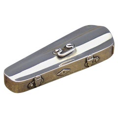 Sterling Silver Violin Case Vesta by Thornhill, Hallmarked London, 1889