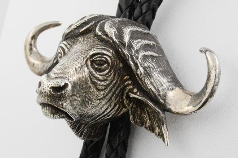 Sterling Silver Water Buffalo Bolo Tie For Sale 1