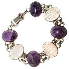 Sterling Silver WE Richards Purple and Clear Scarab Link Bracelet