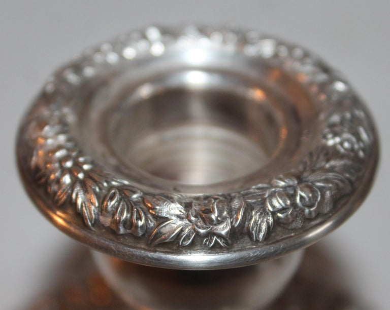 Sterling Silver Weighted Kirk & Sons Candle Stick Holders / Pair In Good Condition For Sale In Los Angeles, CA