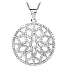 Sterling Silver White Rhodium Necklace Chain Contemporary Geometric Pendant