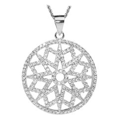 Sterling Silver White Rhodium Necklace Chain Contemporary Geometric Pendant