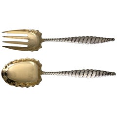 Sterling Silver Whiting Oval Twist Gold Wash Salad Servers
