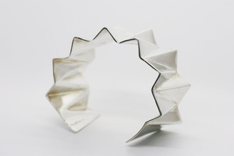 Contemporary Sterling Silver Wide Folded Triangles Cuff  For Sale