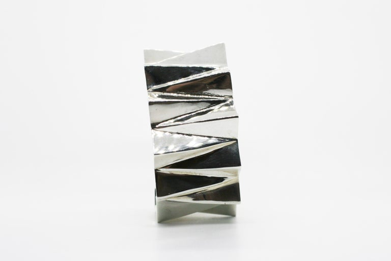 Sterling Silver Wide Folded Triangles Cuff  In New Condition For Sale In West Hollywood, CA