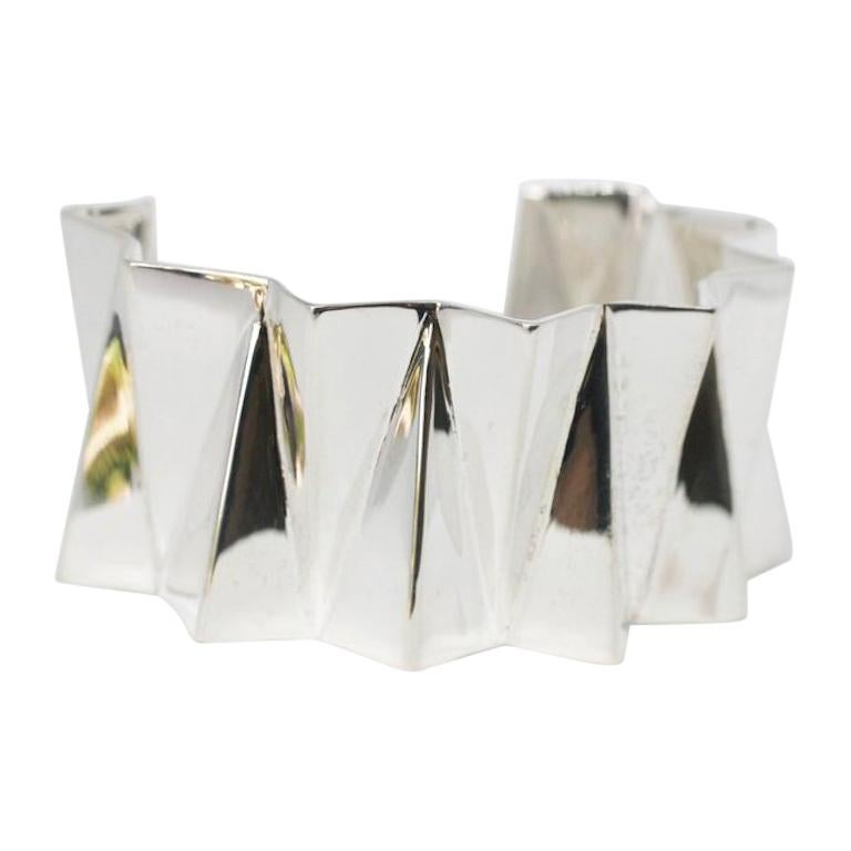 Sterling Silver Wide Folded Triangles Cuff  For Sale