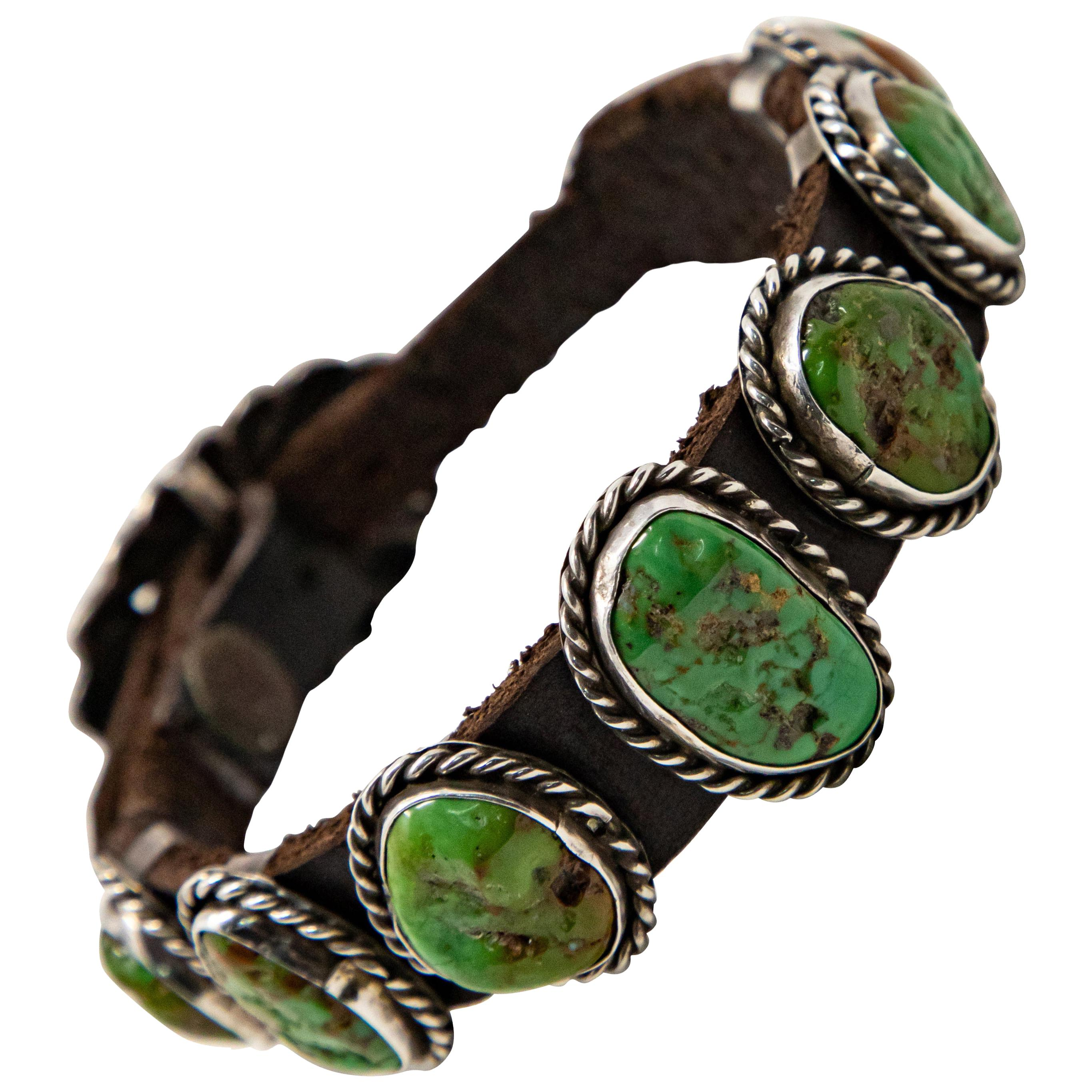 Sterling Silver with Cabochon Turquoise and Leather Bracelet