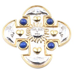 Sterling Silver with Lapis Sun and Moon Cross Pin Signed Sergio Bustamante
