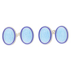 Sterling Silver with Light Blue and Dark Blue Enamel Chain Link Cufflinks