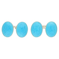 Sterling Silver with Turquoise Enamel Chain Link Cufflinks