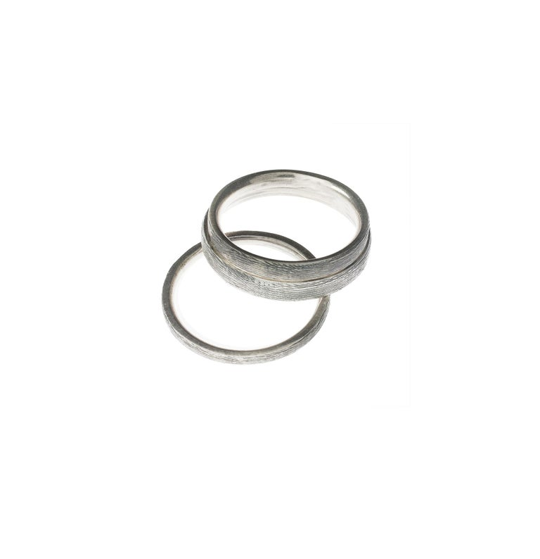 Sterling Silver Wood Contemporary Men Ring For Sale 5