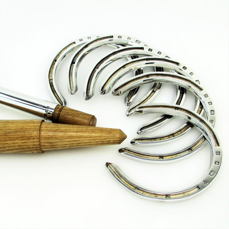 English Sterling Silver and Wood Horseshoes Set 1996 Horse Shoe Toss Game Set For Sale