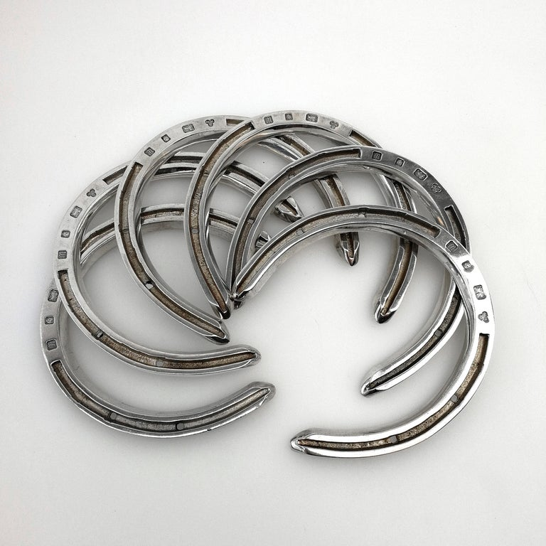 Sterling Silver and Wood Horseshoes Set 1996 Horse Shoe Toss Game Set In Good Condition For Sale In London, GB