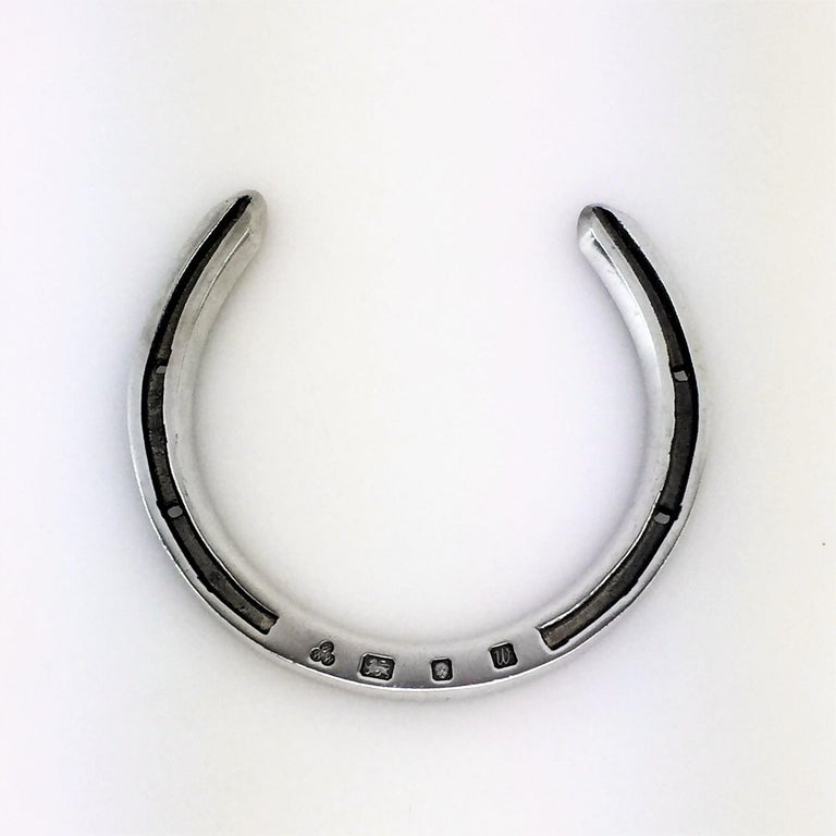 Sterling Silver and Wood Horseshoes Set 1996 Horse Shoe Toss Game Set For Sale 5