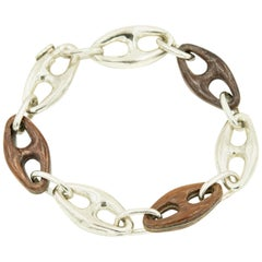 Sterling Silver Wood Mariner Anchor Chain Link Nautical Bracelet