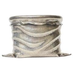 Sterling Silver Woven Italian Sculptural Ice Bucket Vessel  Barware