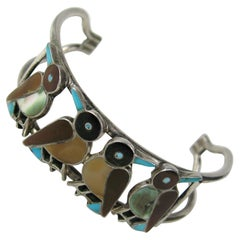 Sterling silver Zuni Bird Inlaid Cuff Bracelet, 1970s Pawn Native American