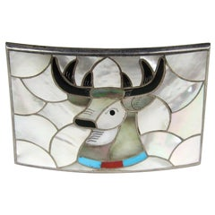 Sterling Silver Zuni Moose INLAY Belt Buckle PORFILIO ANN SHEYKA Native American