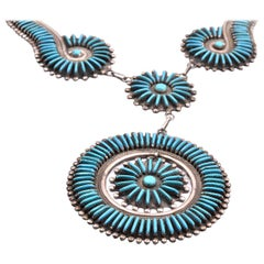 Sterling Silver Zuni Native American Turquoise Petit Point Necklace