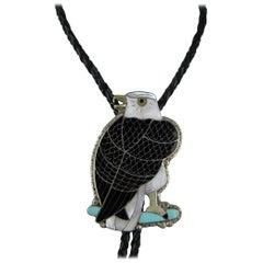 Sterling Silver Zuni Sheyka Eagle Bolo Tie Native American