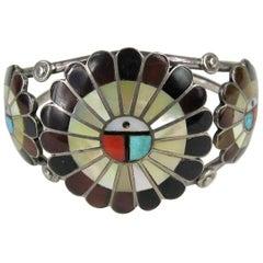 Sterling Silver Zuni Sun Face Cuff Bracelet Native American 1960s
