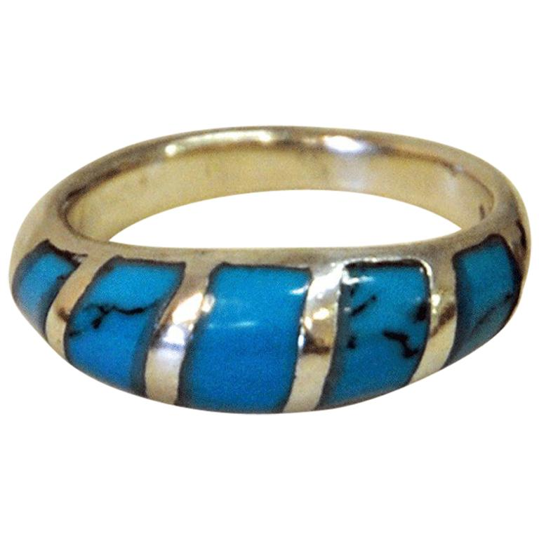 Sterling Silvering with Clearblue Stone and Black Patterns 1960s, Scandinavia