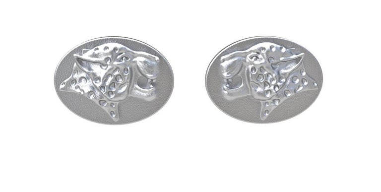 Sterling Spotted Leopard Cufflinks, Hand sculpted sterling cufflinks in a matte finish. Made to order allow 3 weeks for delivery.