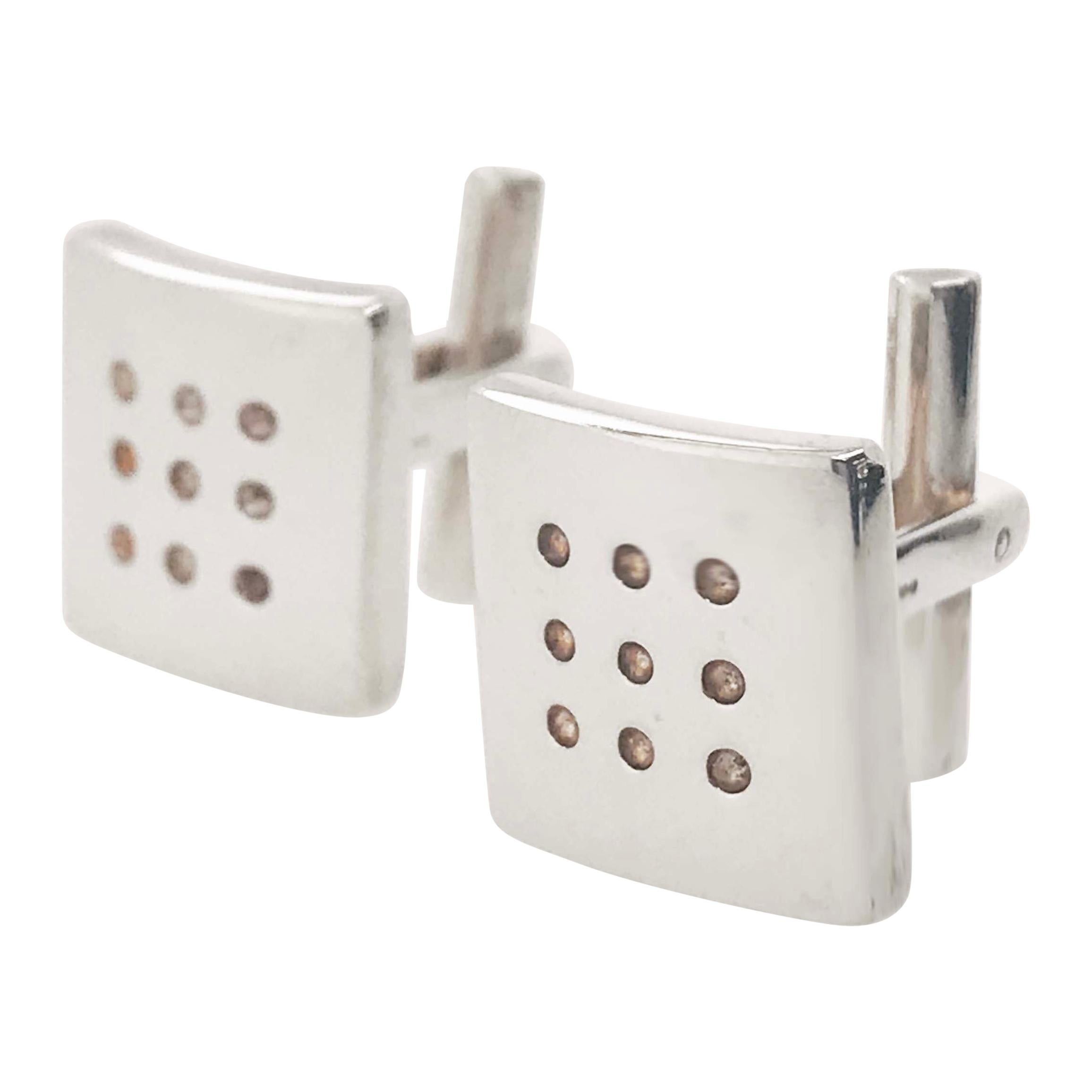 Sterling Square Cufflinks, Sterling Silver Roll the Dice Men's Cuff-links
