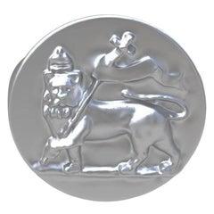 Sterling St George Lion Signet Ring