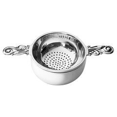 Sterling Tea Strainer on Stand, Mappin and Webb Birmingham, 1961