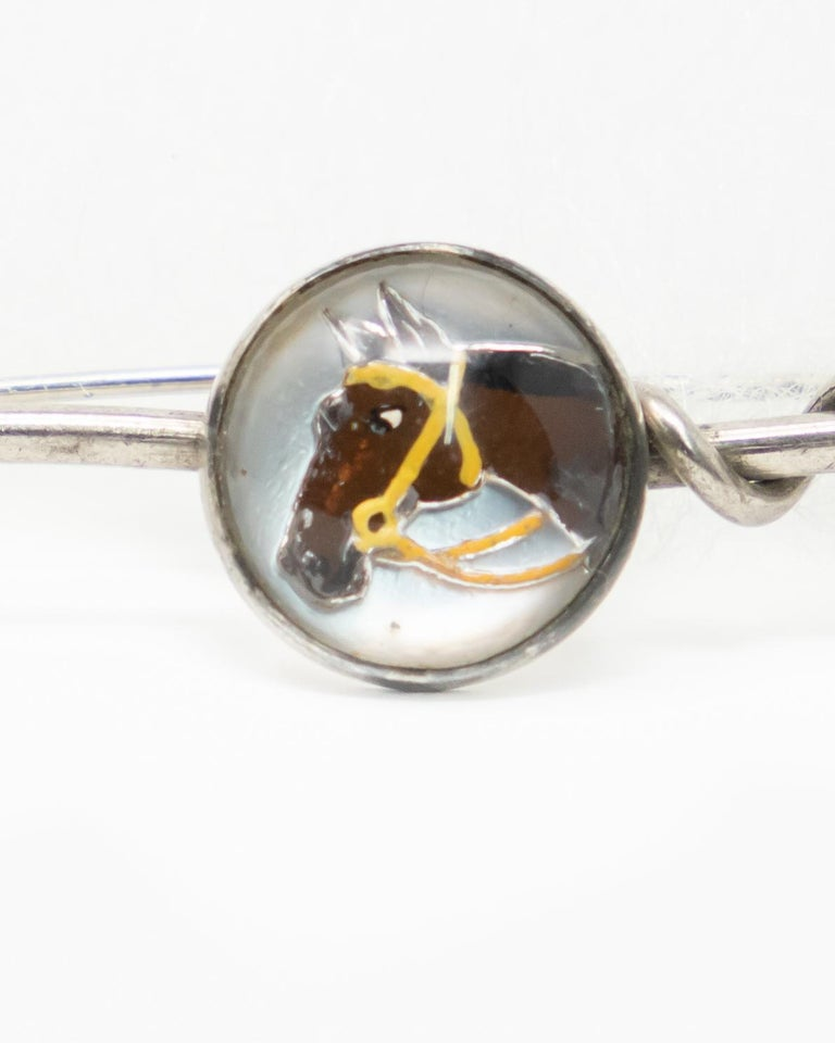 Art Deco Sterling Tie Pin and Collar Link with Enameled Horse Head Paintings For Sale