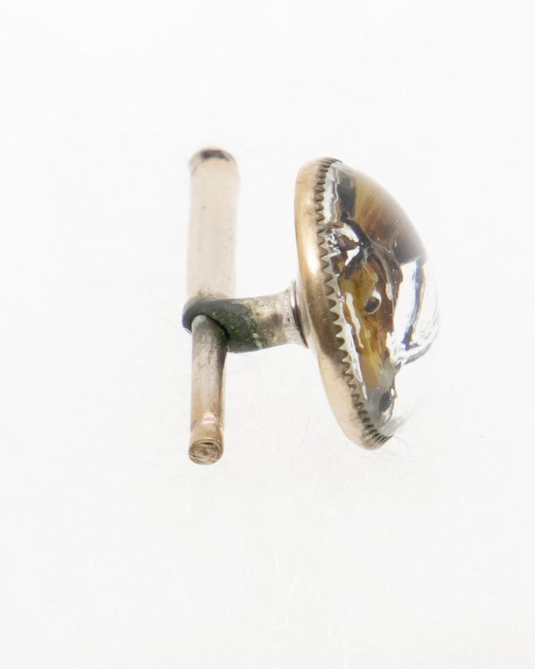 20th Century Sterling Tie Pin and Collar Link with Enameled Horse Head Paintings For Sale