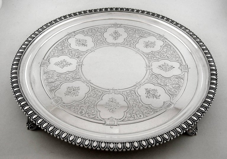 Sterling Tiffany & Co. 550 Broadway footed tray, circa 1855-1860.