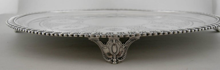 Sterling Tiffany & Co. 550 Broadway Footed Tray, circa 1855-1860 In Excellent Condition For Sale In Norwalk, CT