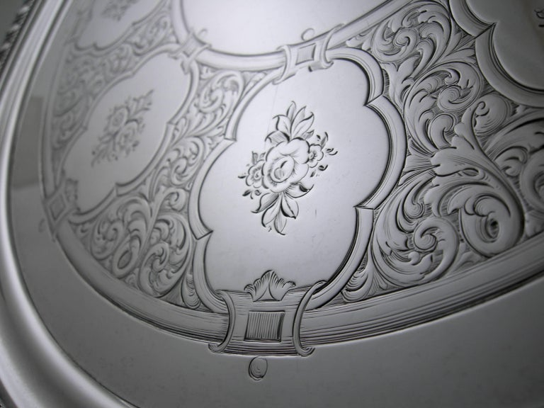 19th Century Sterling Tiffany & Co. 550 Broadway Footed Tray, circa 1855-1860 For Sale