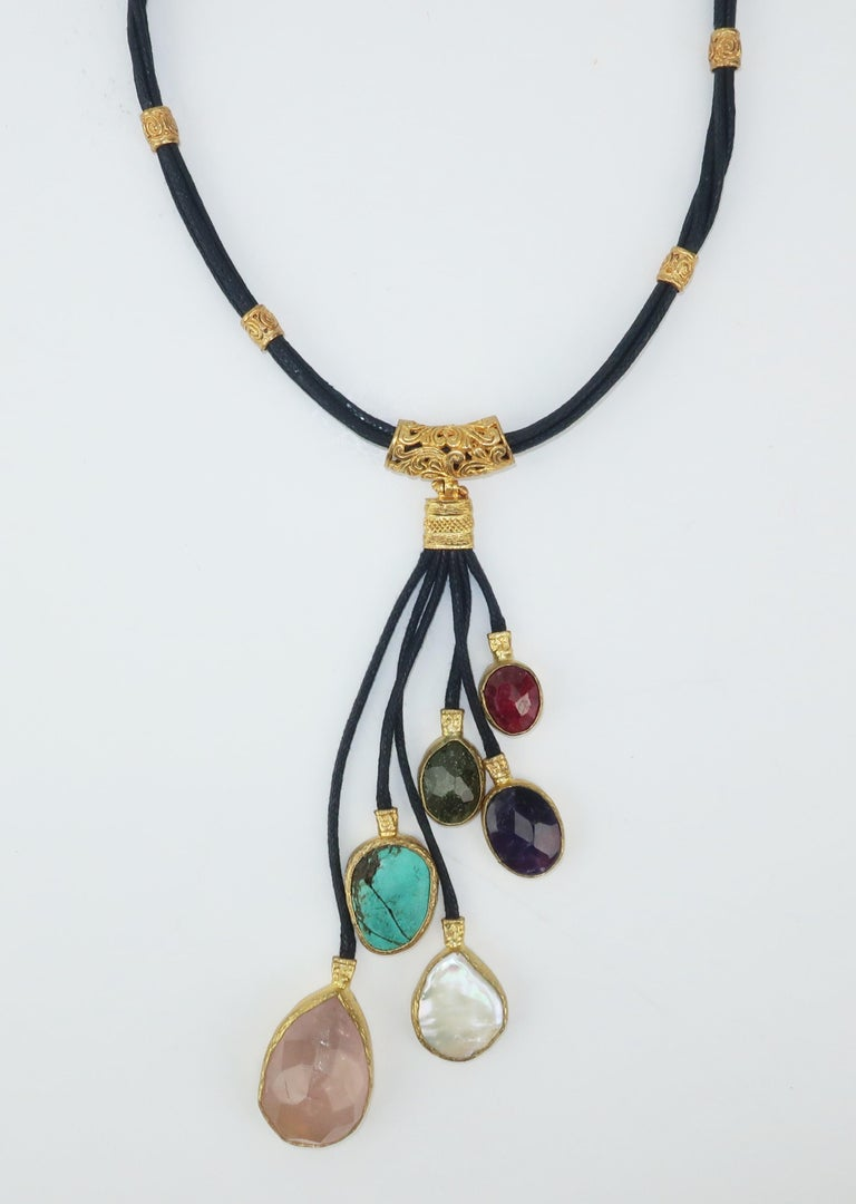 Byzantine Sterling Vermeil & Semi Precious Stone Drop Necklace For Sale