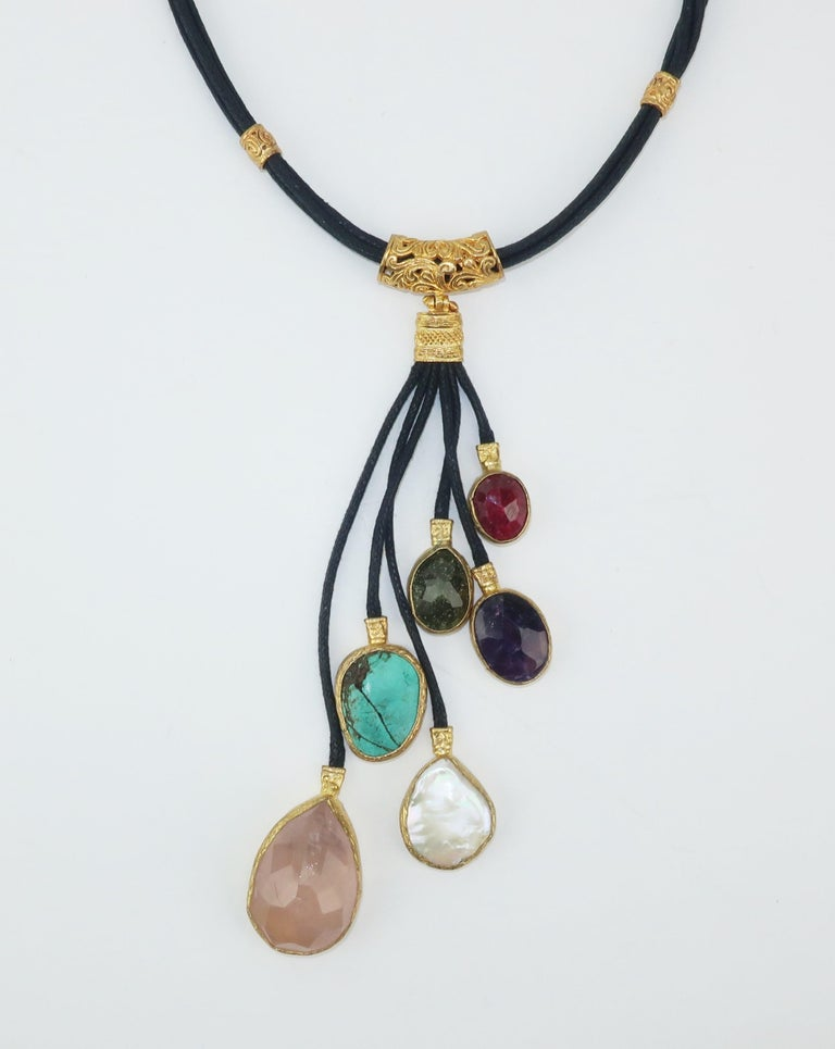 Sterling Vermeil & Semi Precious Stone Drop Necklace In Good Condition For Sale In Atlanta, GA