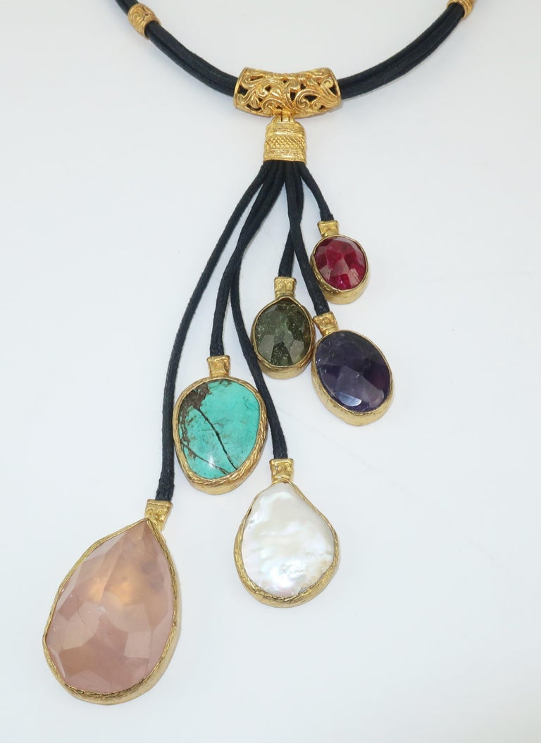 Women's Sterling Vermeil & Semi Precious Stone Drop Necklace For Sale