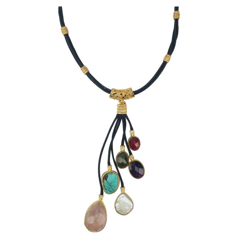 Sterling Vermeil & Semi Precious Stone Drop Necklace For Sale