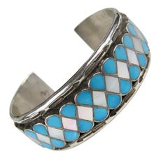 Sterling Zuni Cuff bracelet Teardrop Inlaid Turquoise & Mother of pearl