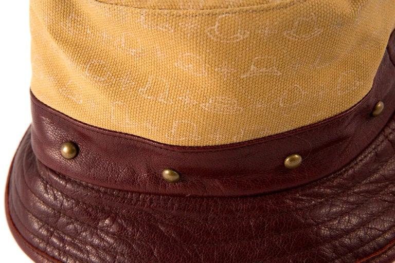 Brown Stetson Bucket Hat Bordeaux Leather Camel Canvas For Sale
