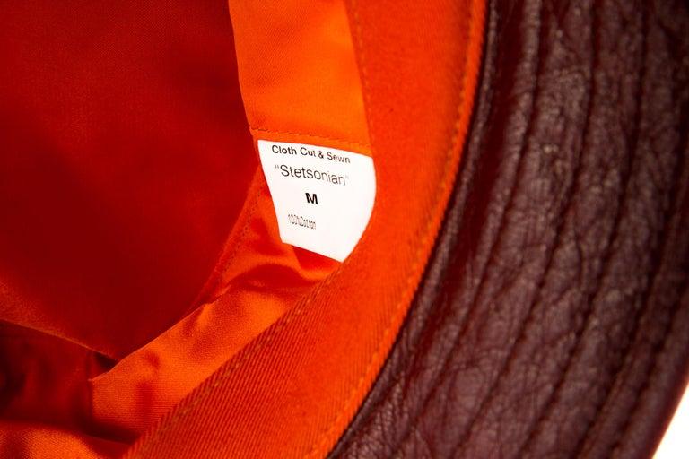 Stetson Bucket Hat Bordeaux Leather Camel Canvas For Sale 1