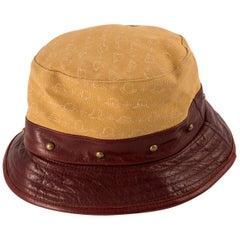 Stetson Bucket Hat Bordeaux Leather Camel Canvas