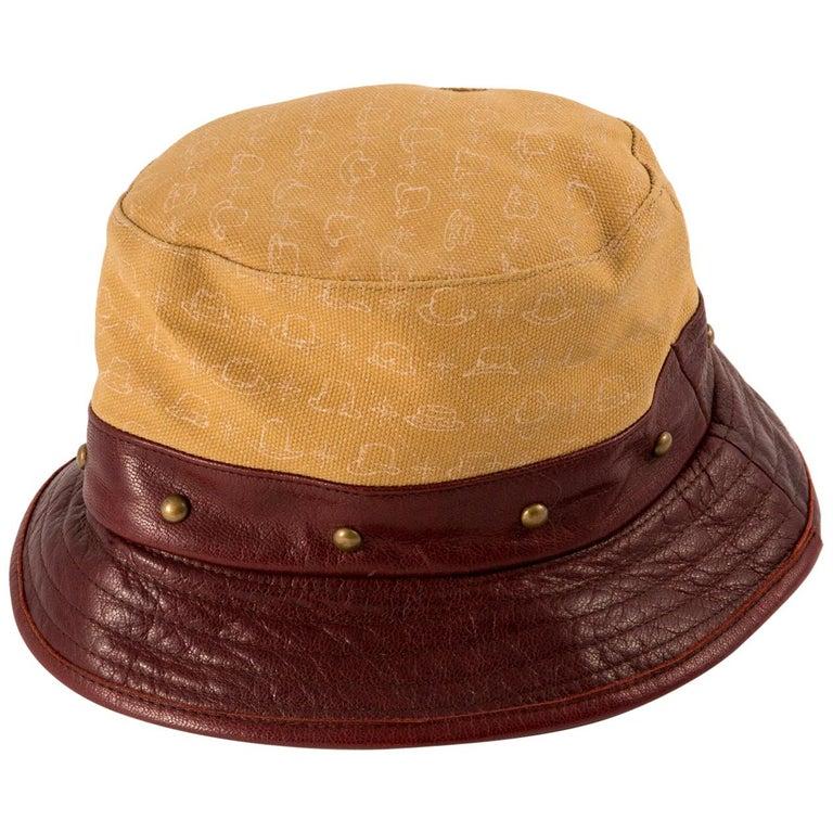 Stetson Bucket Hat Bordeaux Leather Camel Canvas For Sale