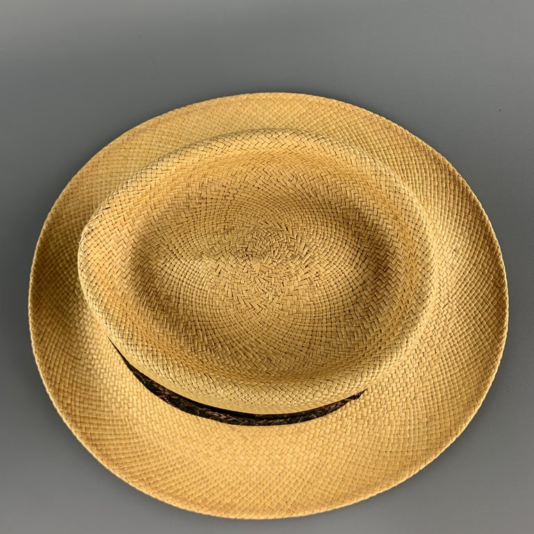 STETSON Natural Woven Straw Gathered Stripe Hat In Good Condition For Sale In San Francisco, CA