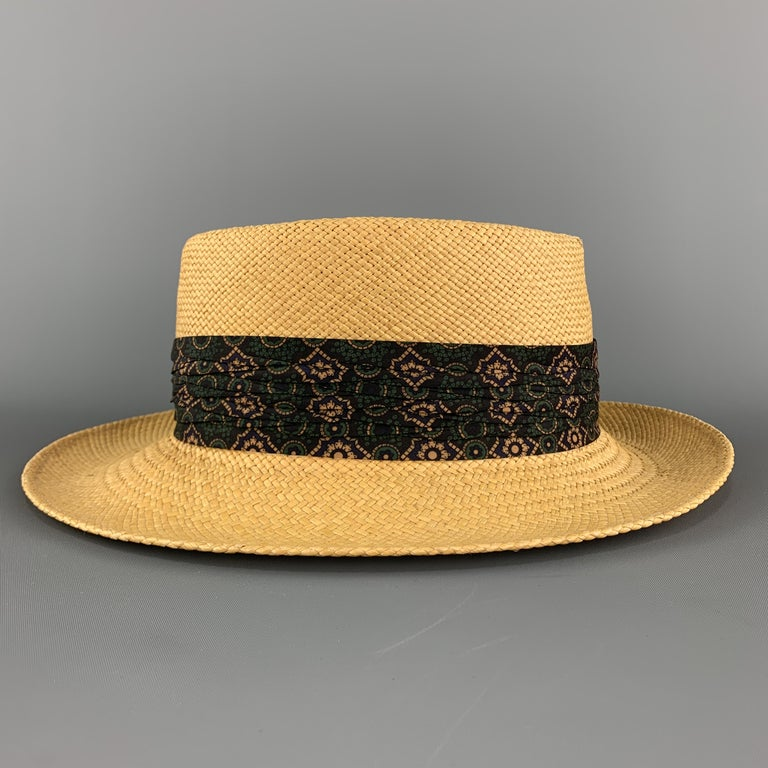 Men's STETSON Natural Woven Straw Gathered Stripe Hat For Sale