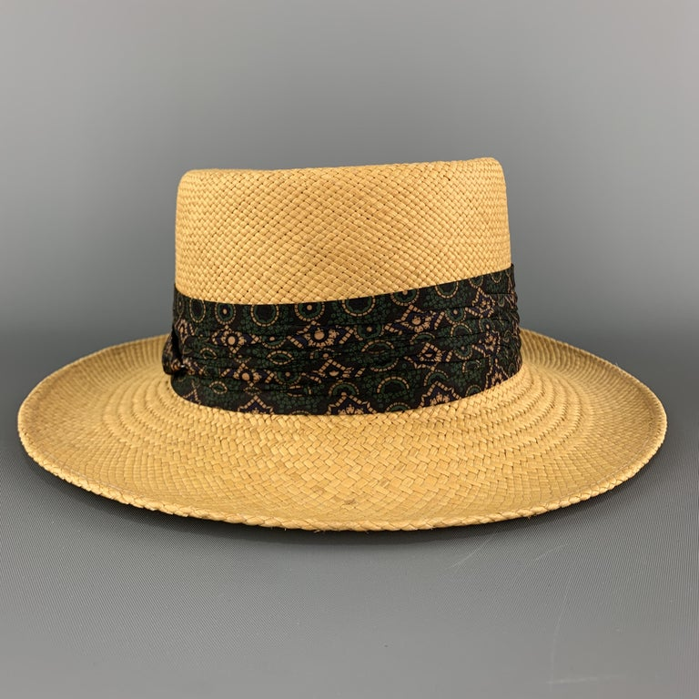 STETSON Natural Woven Straw Gathered Stripe Hat For Sale 1
