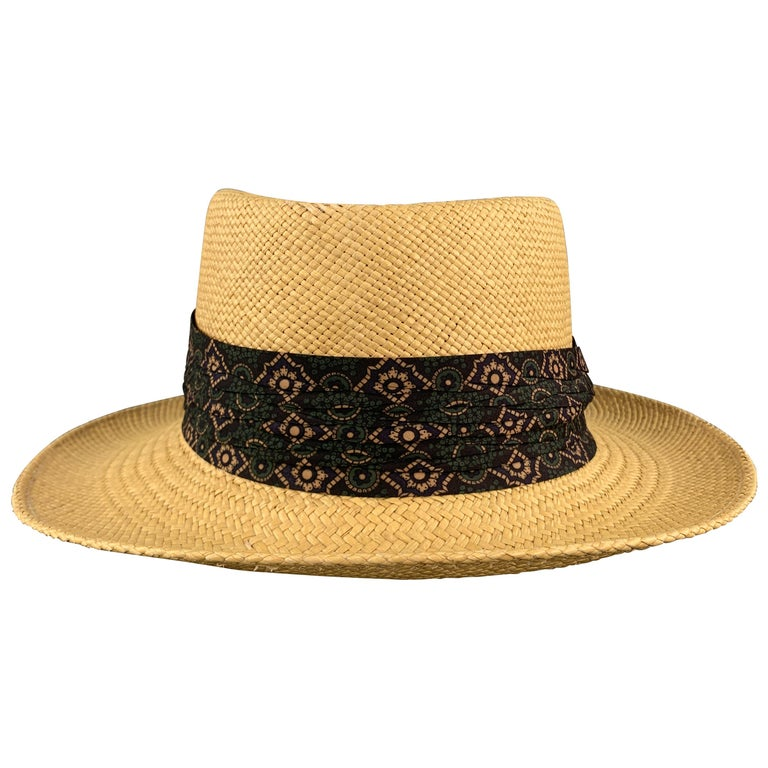 STETSON Natural Woven Straw Gathered Stripe Hat For Sale
