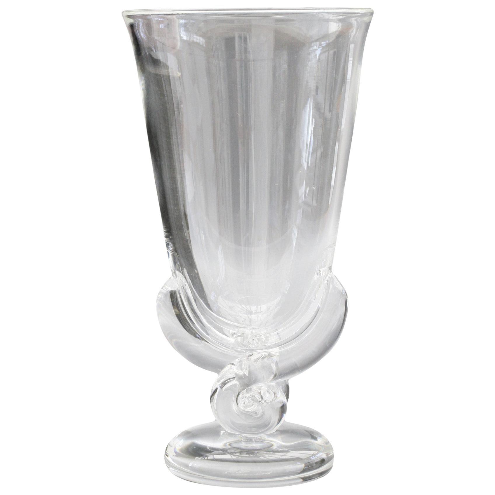 Steuben Art Deco Glass Flower Shaped Vase by George Thompson, circa 1942