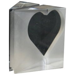 "Steuben Art Glass Prismatic ""Love At First Sight"" Heart Paperweight"